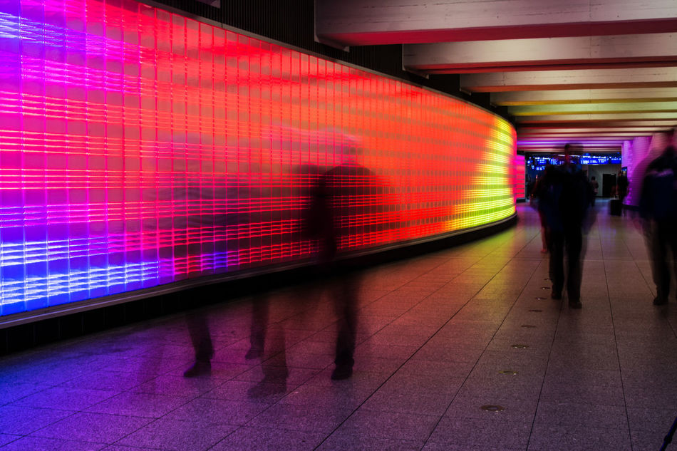 Architecture Architecture Architecture_collection Blurred Motion Color Illuminated Lifestyles Long Exposure Men Motion Outdoors People Public Transportation Rail Transportation Real People Subway Station The Way Forward Transportation Tunnel Walking Women Art Is Everywhere