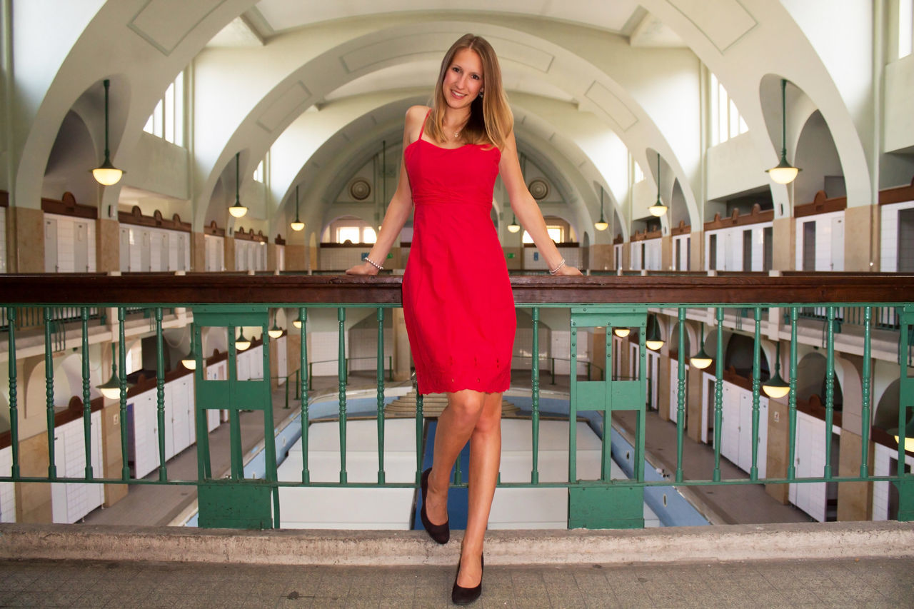 Beautiful Woman Beauty Blond Hair Hallenbad Indoors  Lifestyles Looking At Camera Lost Places Lostplaces Model Model Shoot Nürnberg One Person One Woman Only Photoshoot Portrait Red Dress Shooting Smiling Swim Hall Swimming Pool Verlassene Orte Volksbad Woman Who Inspire You