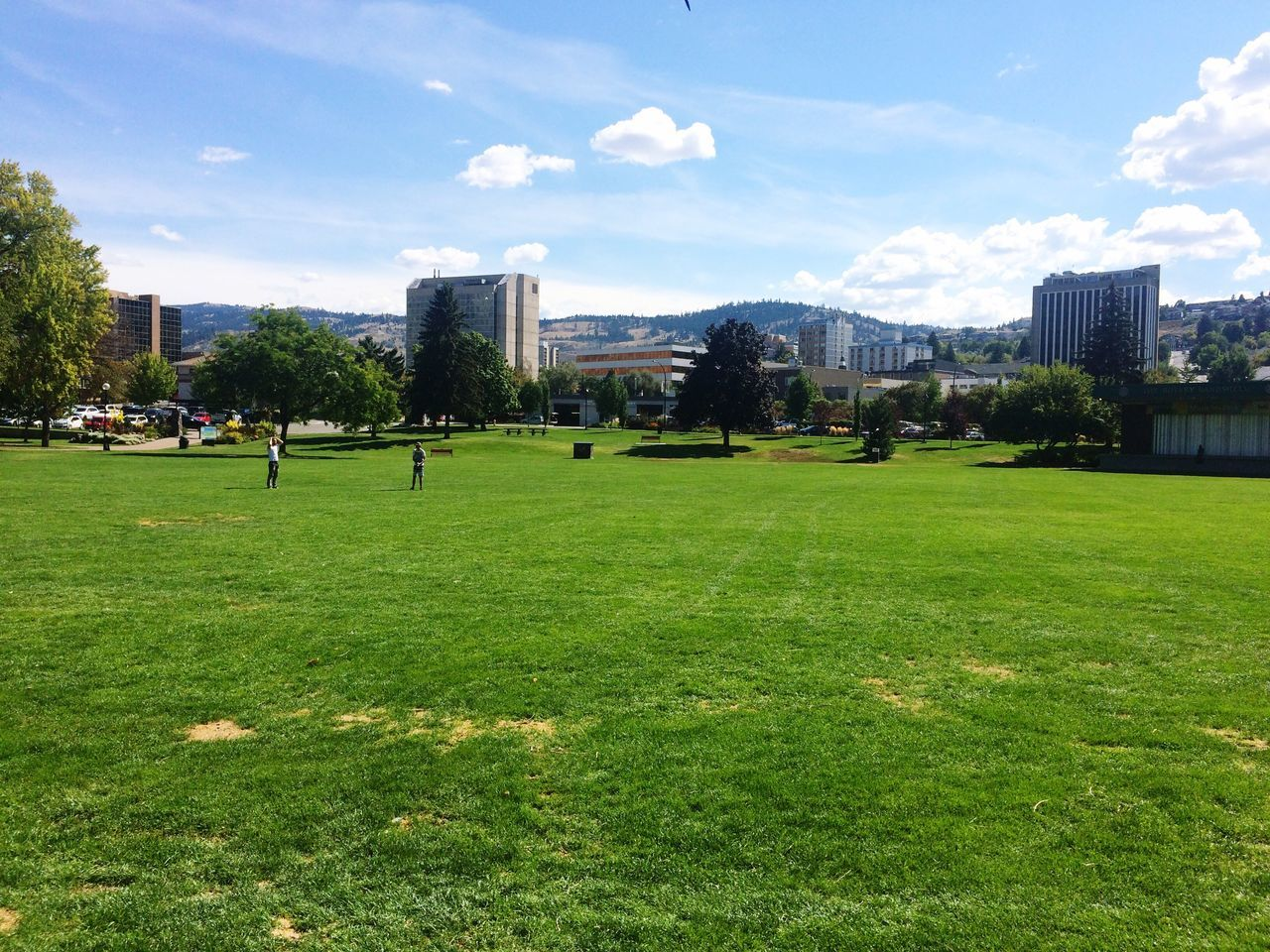 grass, building exterior, architecture, built structure, tree, green color, sky, real people, sunlight, growth, nature, day, leisure activity, cloud - sky, outdoors, field, park - man made space, lawn, city, playing, playing field, large group of people, lifestyles, men, sport, beauty in nature, golf, green - golf course, golf course, people