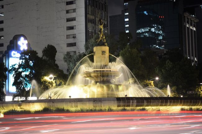 Mexicocity  Lights Night Illuminated City Life Long Exposure Fountain No People DianaCazadora