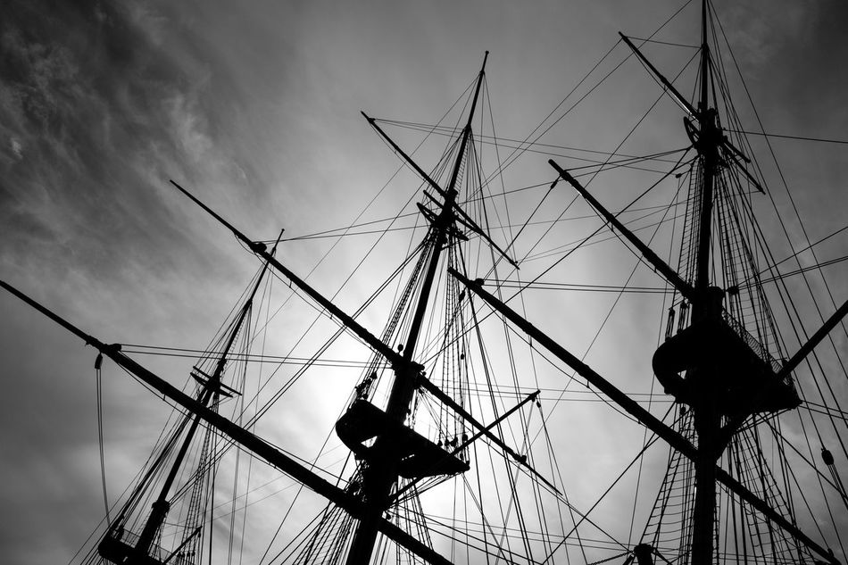 Sail boat detail Black And White Collection  Boat Denmark Details Fregate Looking Up Monochrome Photography Sail Ship Sky