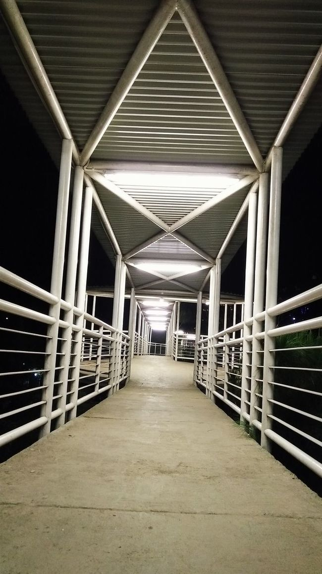 Architecture Built Structure Diminishing Perspective Empty Footbridge Illuminated Long Narrow No People The Way Forward Vanishing Point Walkway