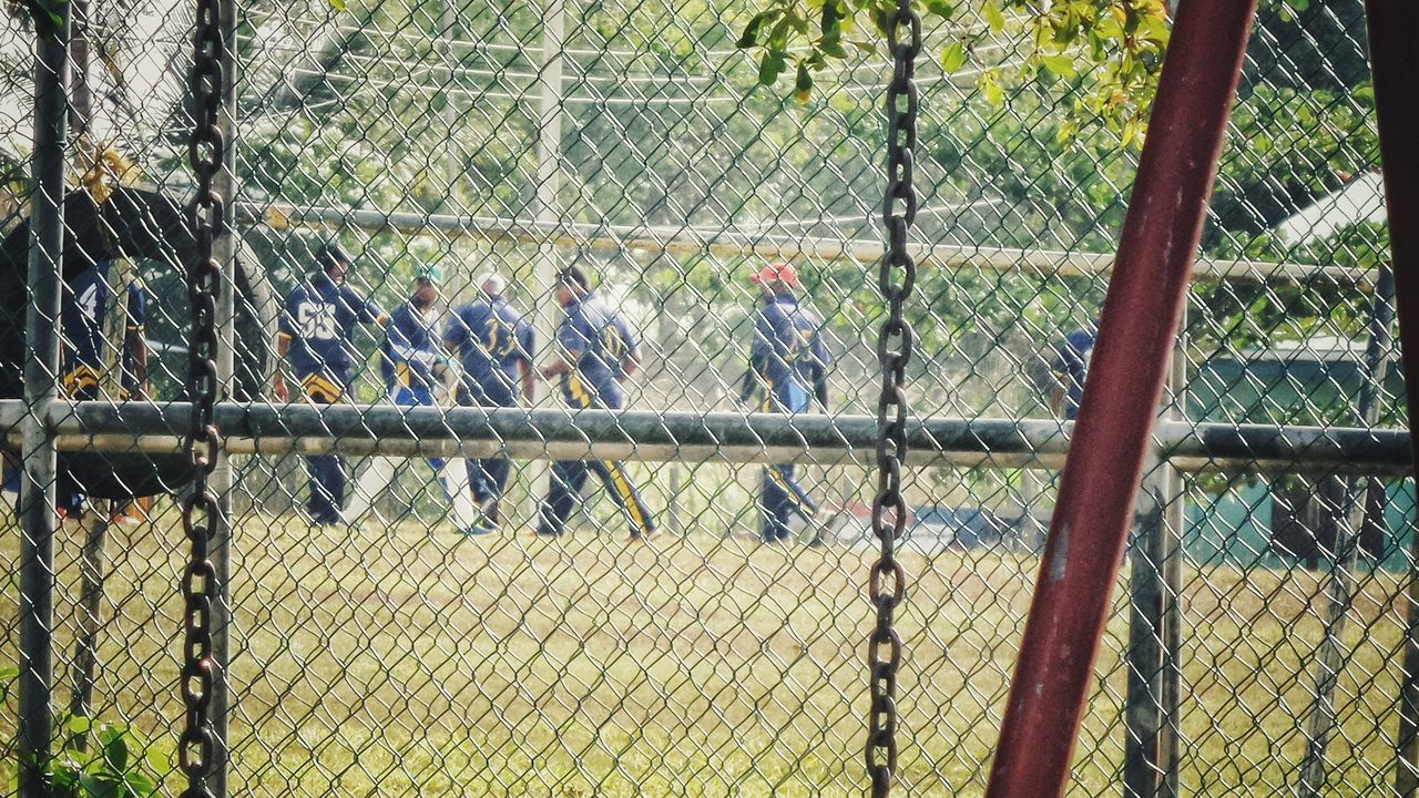 Watching Cricket Club Match Through The Fence At The Park Taking Photos Caribbean Claxton Bay Mon Repos Trinidad And Tobago