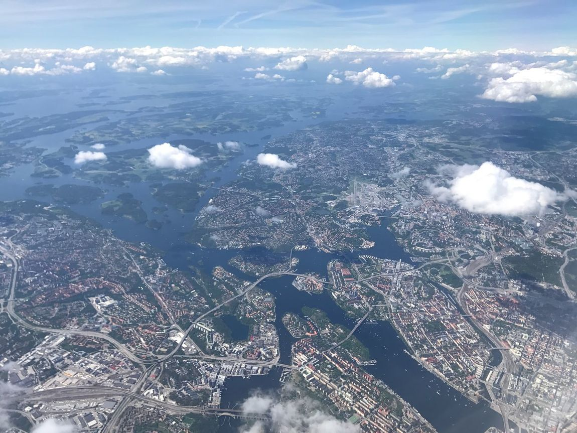 Aerial View Cityscape Day No People Landscape Architecture Outdoors City Built Structure Scenics Nature Building Exterior Cloud - Sky Airplane Sea Sky Beauty In Nature Residential  Airplane Wing Sweden