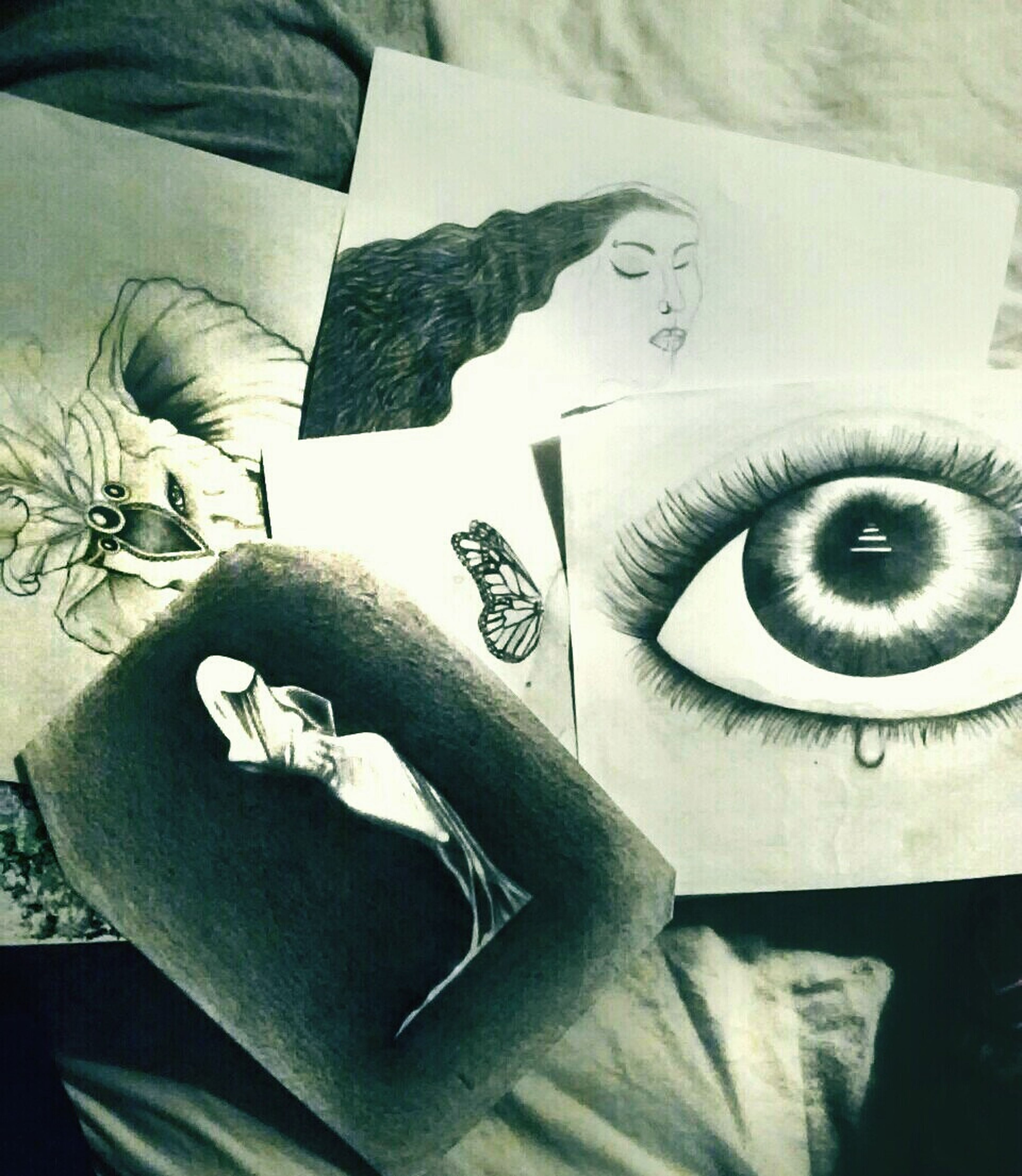 Unfinished Art. Drawings Eye Elephant When Boredom Strikes.