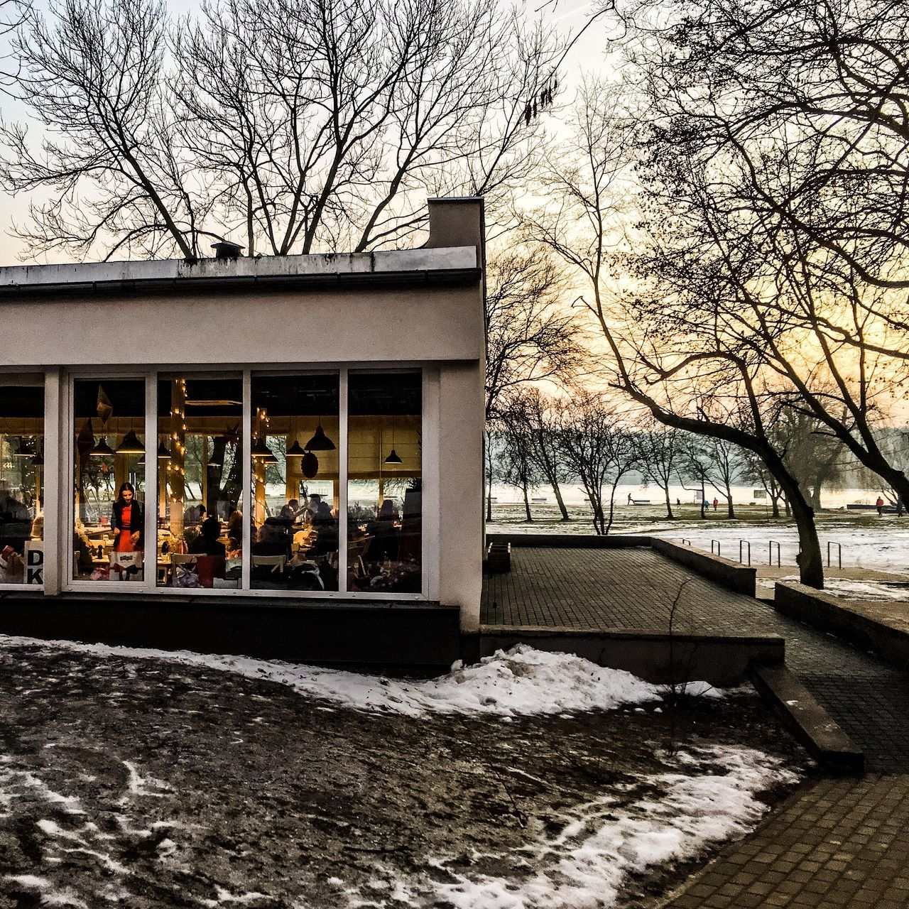 Tree Bare Tree Outdoors Architecture Building Exterior Built Structure Day Winter Cold Temperature Nature Snow Restaurant Sunset People Red Dress Dinner