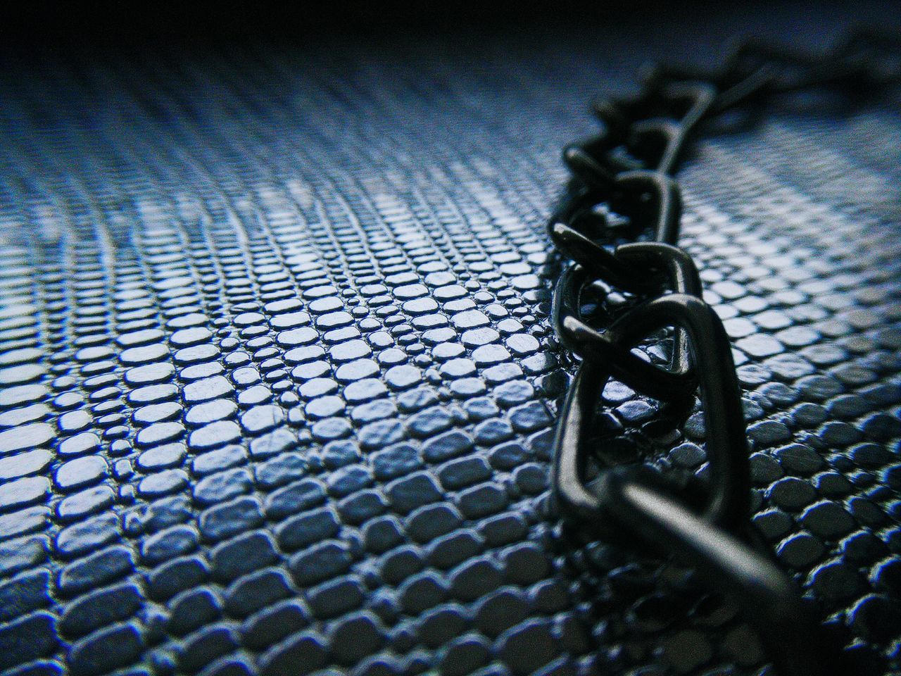 metal, selective focus, chain, no people, close-up, indoors, day