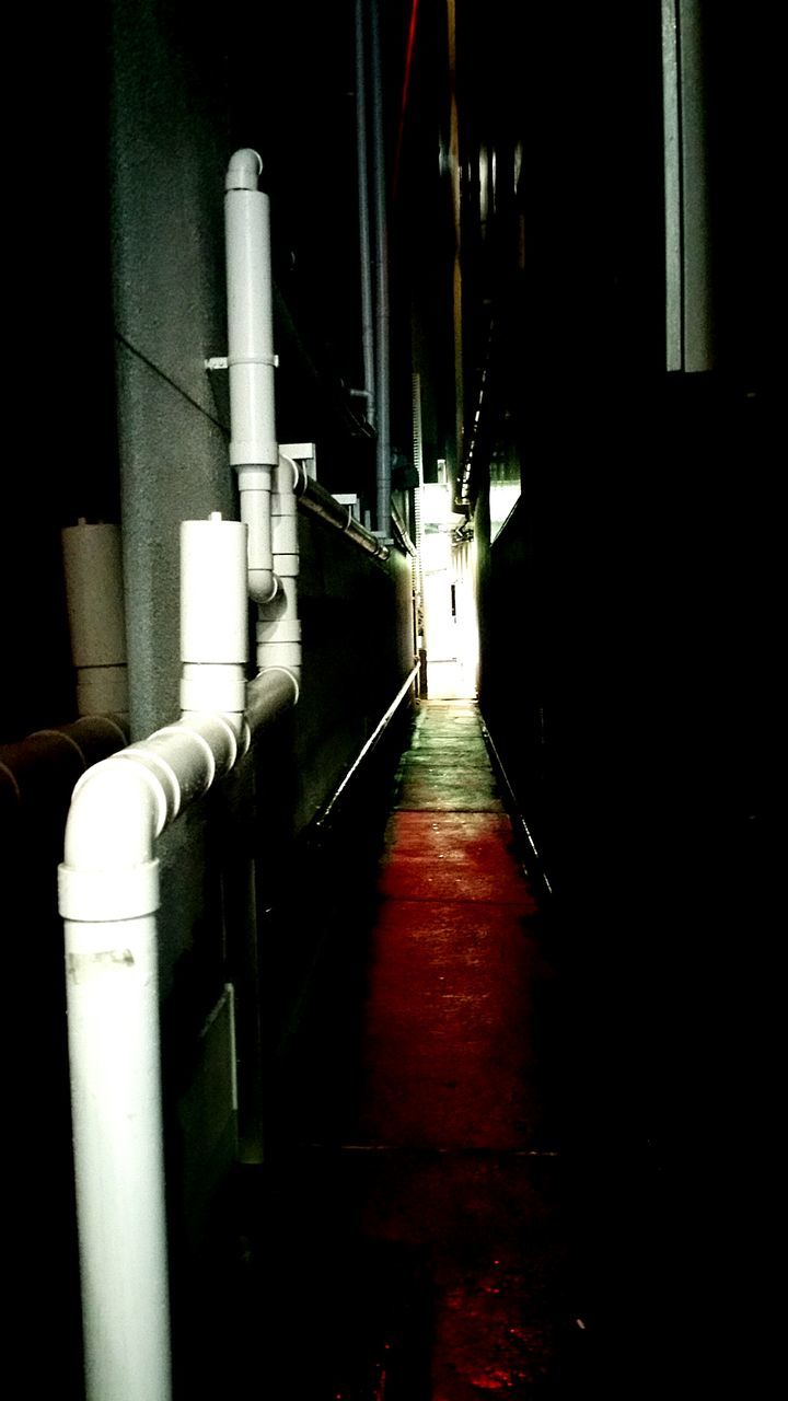 illuminated, the way forward, pipeline, pipe - tube, indoors, factory, built structure, industry, night, architecture, no people, technology