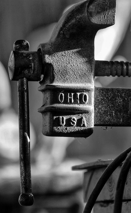 One of my many vices, is this vise. Black And White Photography Shallow Depth Of Field Small Is Big Focus On Foreground