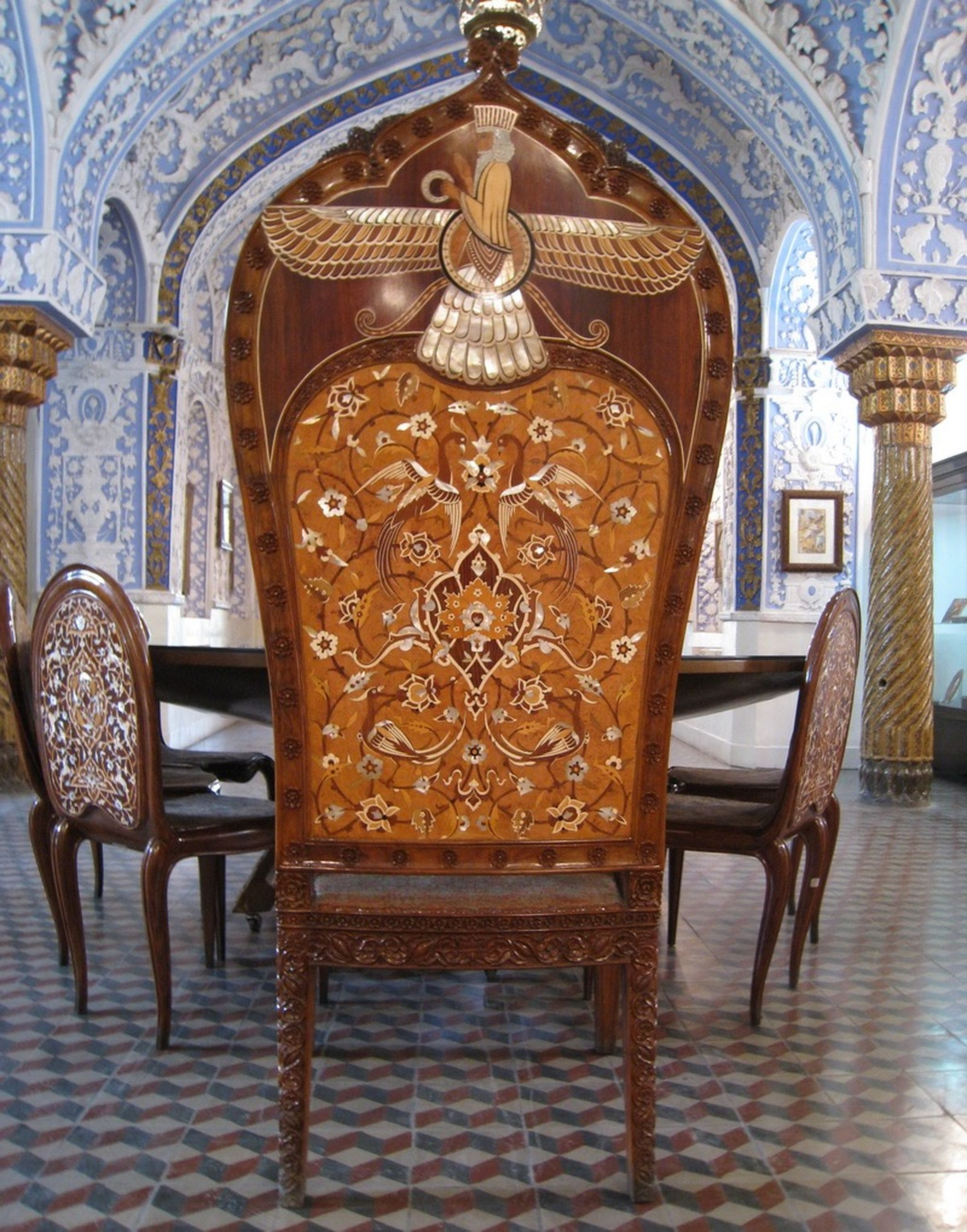 indoors, ornate, religion, design, chair, pattern, spirituality, place of worship, empty, flooring, table, absence, art and craft, church, day, home interior, floral pattern, wood - material, art, curtain