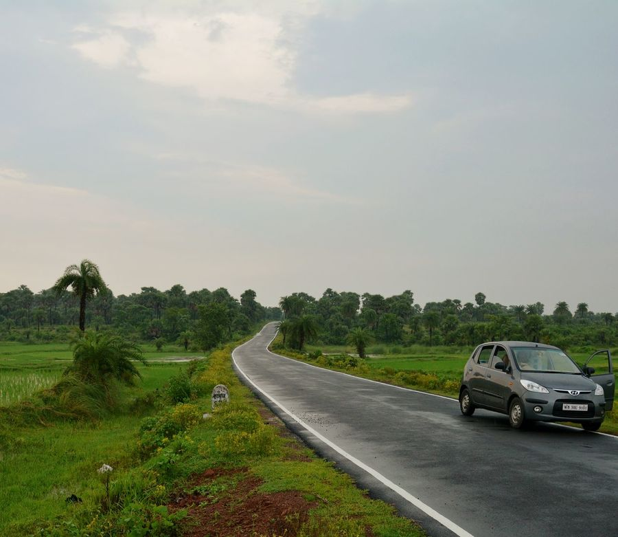 Car Road Transportation Rural Scene No People Cloud - Sky Outdoors Day Tree Landscape Nature Chururi Bankura Incredible India West Bengal Farm Rice - Cereal Plant Field Rice Paddy Agriculture Crop
