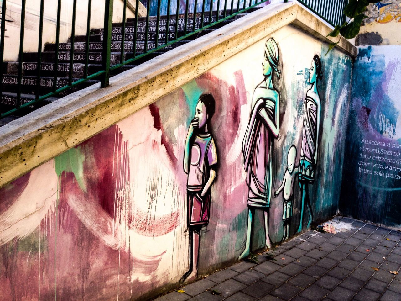 graffiti, art and craft, creativity, architecture, built structure, human representation, street art, building exterior, outdoors, day, no people, multi colored
