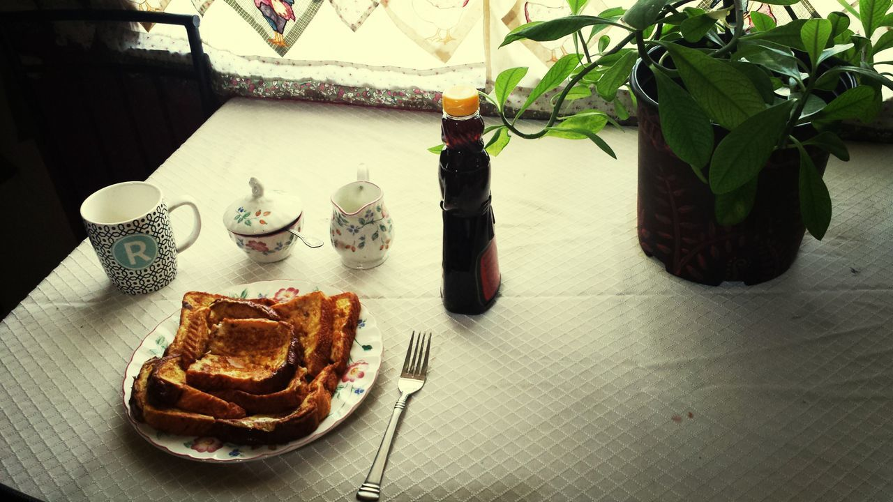 Breakfast French Toast and Coffee Good Morning