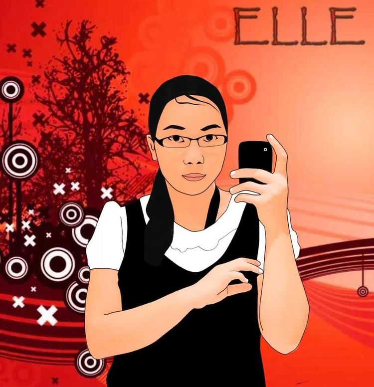 Photoshop me, credit for my brother, background not own by him, Mirrorshot Selfportrait Cartoon version of me