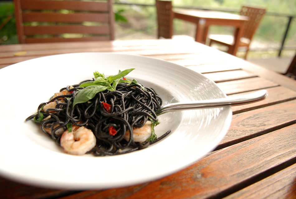 Squid ink pasta for lunch. Black Food Italian Food Khaoyai Lunch Meal On The Table Pasta Plate Spaghetti Squid Ink Pasta Table Thailand