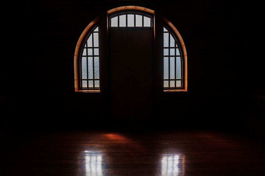 Windows light in the darkness room. Architecture Background Black Dark Dark Day Empty Floor Glass House Indoors  Industrial Inside Light Mysterious Mystery Night No People Old Shadow Spooky Wall Window Windows Wooden