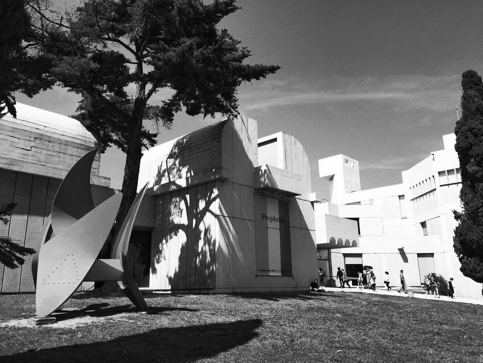 Bnw_friday_eyeemchallenge Museum Time Outdoors Musée Miro Barcelona