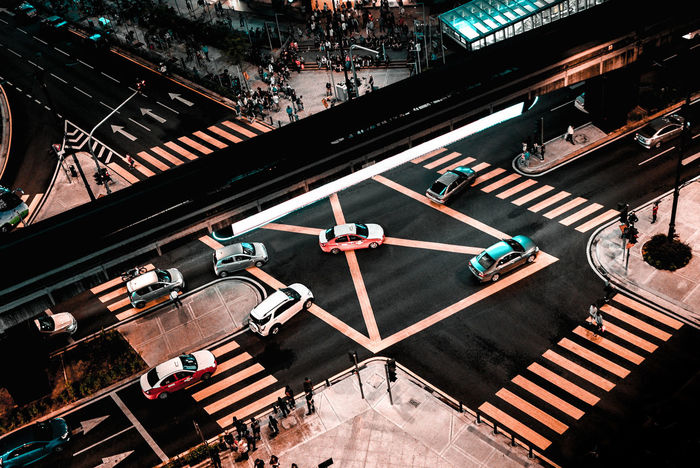 City At Night Junction City Cityscape High Angle View Road Road Sign Stoplight Street Zebra Crossing Mobility In Mega Cities
