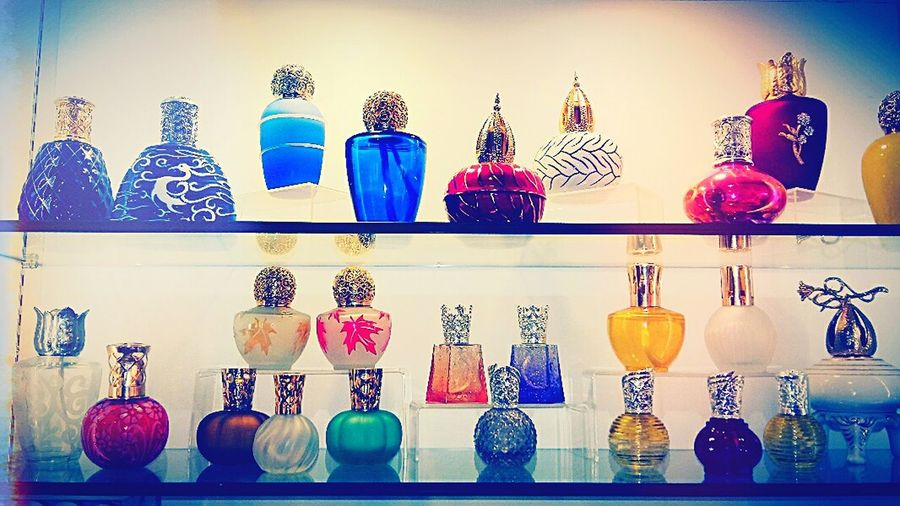 Everything In Its Place Bottle Perfume Bottle Scented Oil Colourful Glasses Shelf Vases Scented Lamp Colours