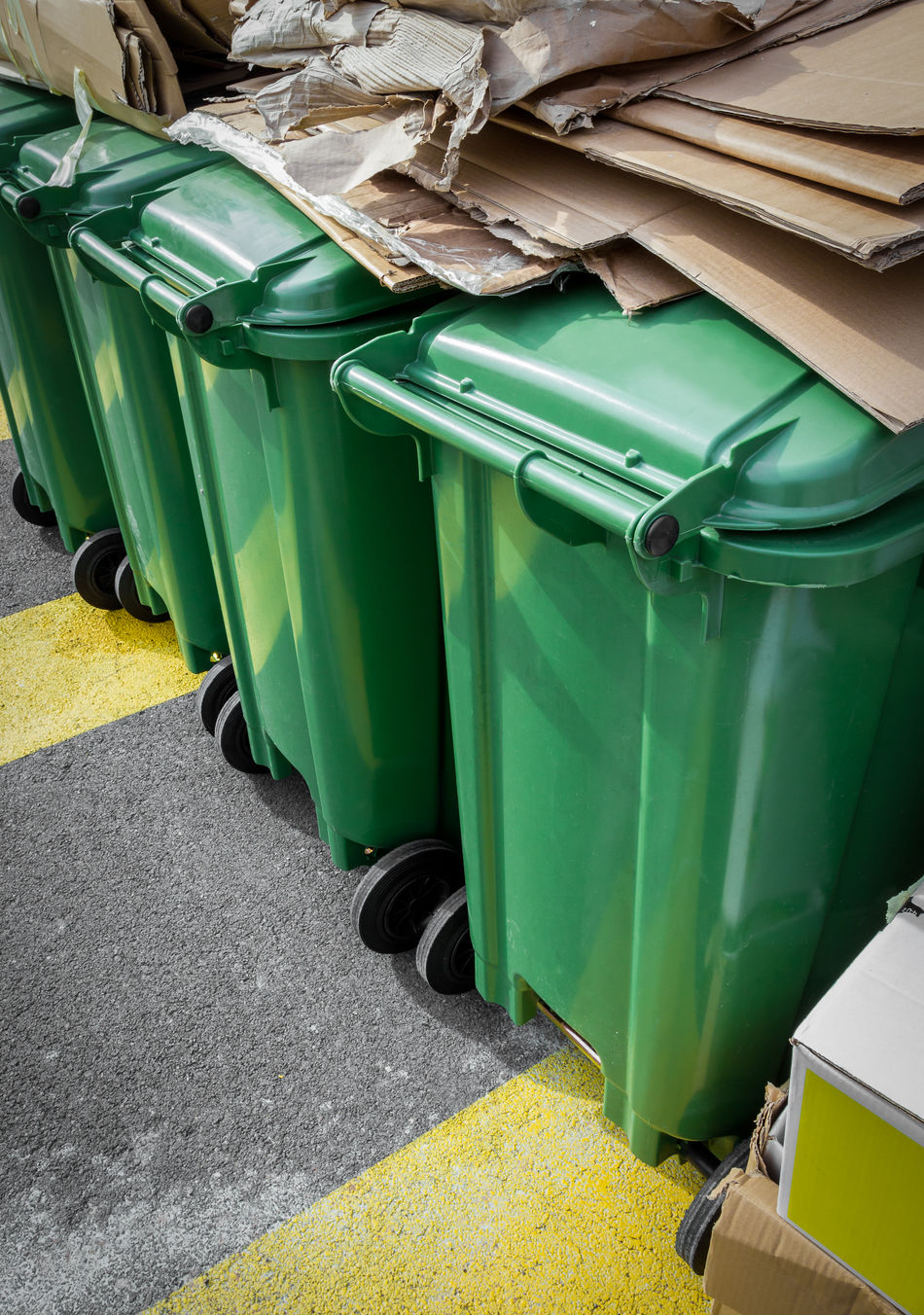 Paper and cardboard on green recycle bins Bin Boxes Can Cardboard Concept Container Disposal Dump Dumpster Ecology Environment Full Garbage Green Outdoors Paper Recycle Recycling Rubbish Separation Street Trash Urban Vertical Waste