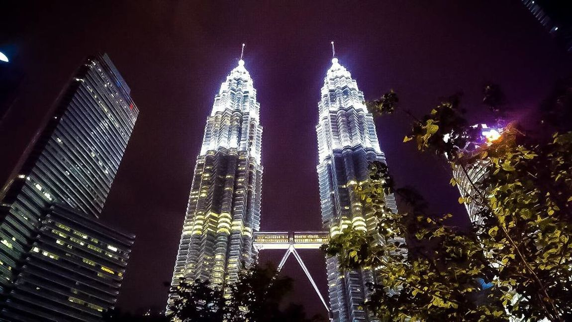 Malaysia Petronastower Night Illuminated Architecture Low Angle View Travel Destinations Modern Built Structure Travel City Outdoors No People Sky