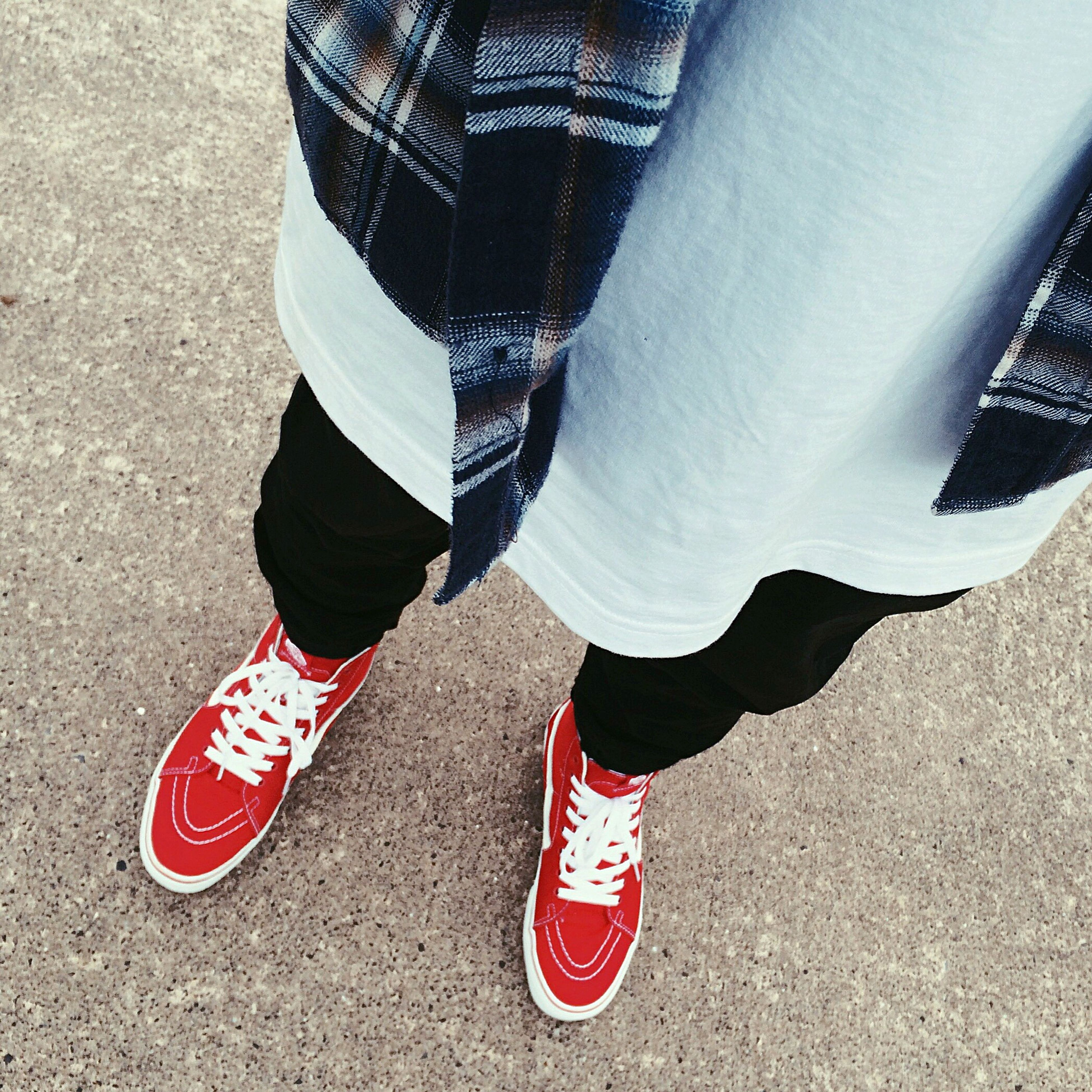 lifestyles, red, leisure activity, casual clothing, striped, footwear, day, outdoors, canvas shoe, ground