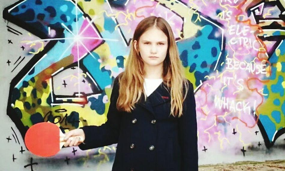 Let's Go Playing Outside Pingpong Tabletennis Urban Kids Graffiti Streetart Living Bold
