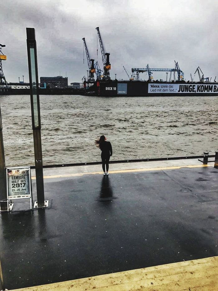 Water Sea Silhouette Sky Outdoors Cloud - Sky One Person Hamburger Hafen Hamburgliebe Harleydayshamburg Russian Girl Long Hair, Don't Care. Windy Day Let's Go. Together.