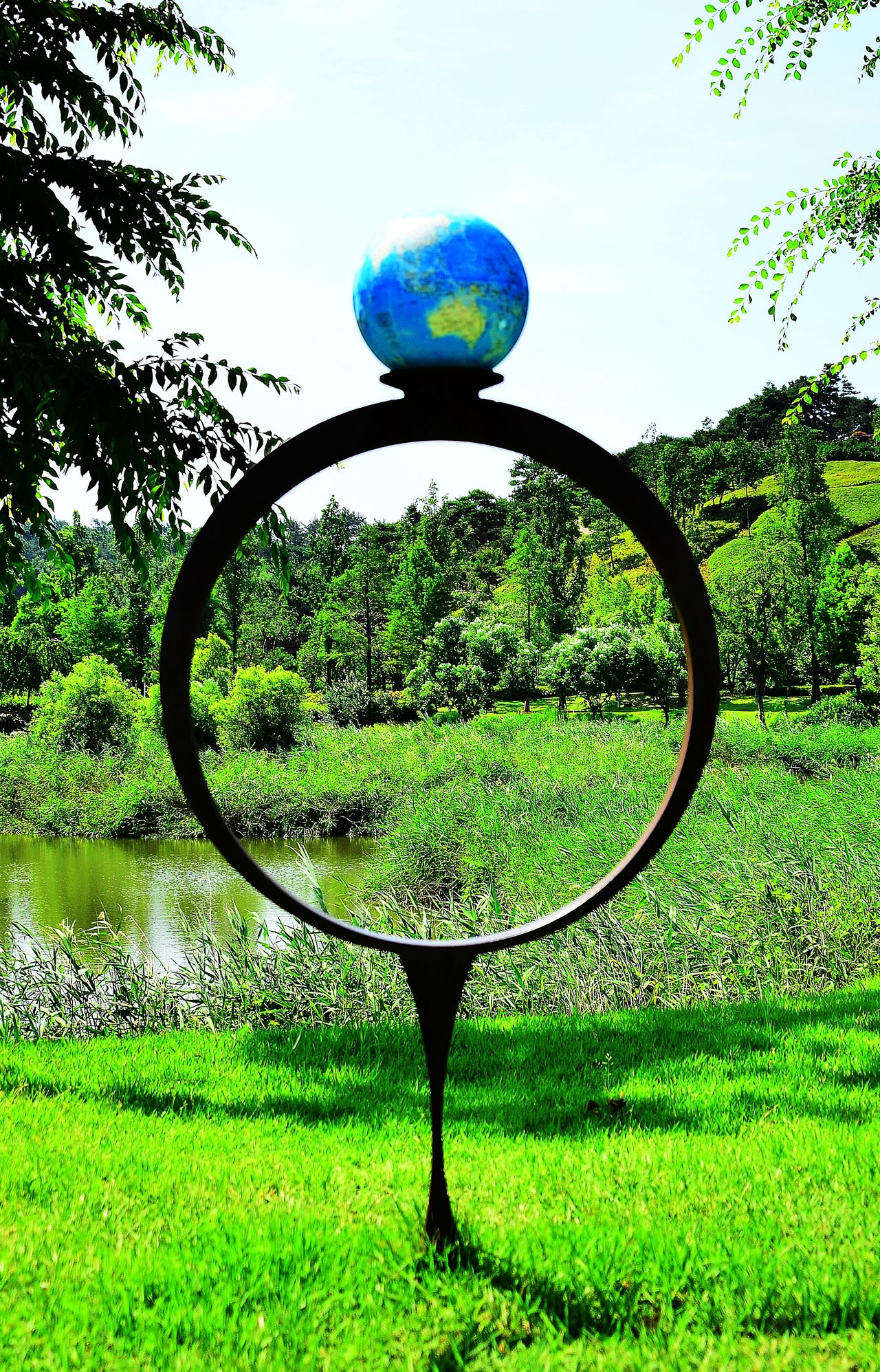 International Garden Exposition Suncheon Beauty In Nature Blue Circle Close-up Garden Garden Architecture Garden Photography Grassy Green Green Color Korea Garden Nature Park Scenics Sky Sphere Tree