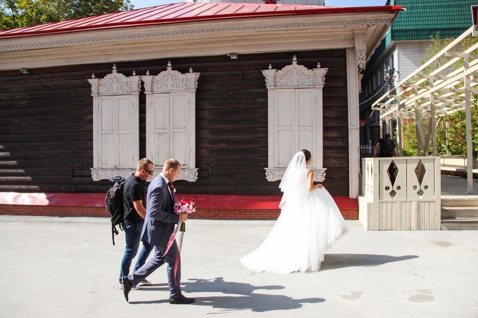 """""""russian wedding shooting"""" Adult Adults Only Bride Bridegroom Building Exterior Candid Celebration Day Full Length Happiness Life Events Mid Adult Mid Adult Women Outdoors People Real People Sunlight Togetherness Two People Wedding Wedding Ceremony Wedding Dress Well-dressed Wife Women"""