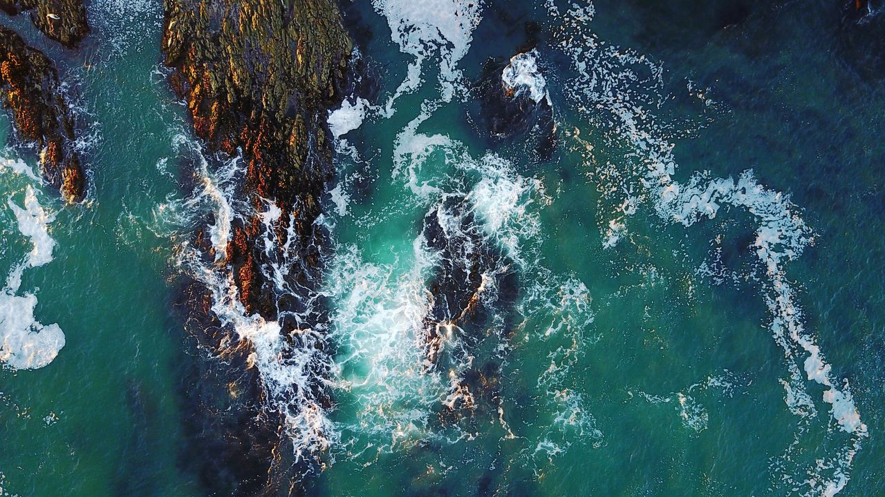 water, sea, high angle view, wave, nature, beauty in nature, day, outdoors, nautical vessel, motion, no people