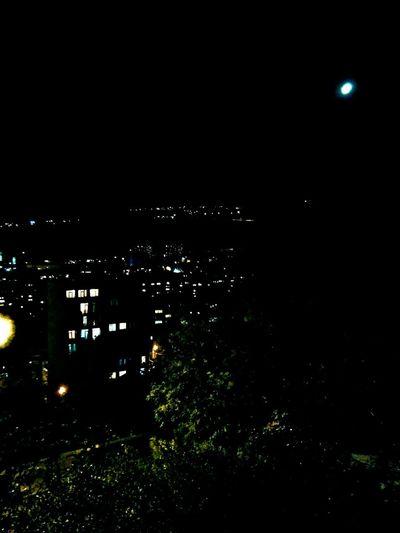 Night Illuminated City Cityscape Moon Dark Outdoors Sky Moonlight No People Scenics Architecture Building Exterior Night Lights Night View Nightphotography Lights In The Window Trees