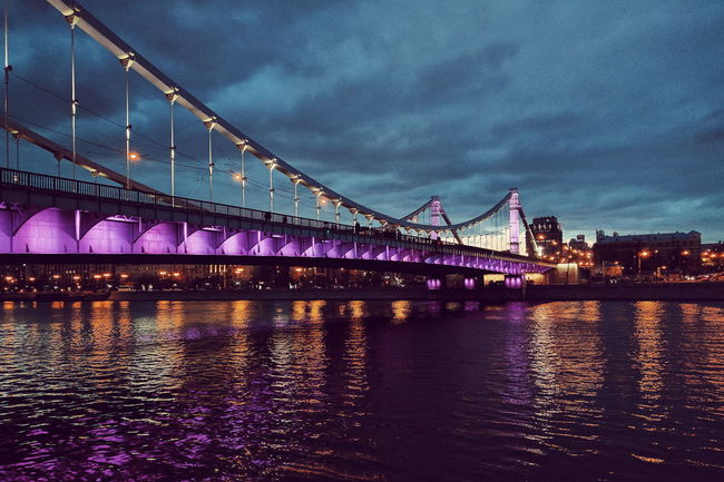 Bridge Reflection Water Travel Bridge - Man Made Structure Architecture River Built Structure City Sky Illuminated Night Waterfront Outdoors No People Dusk Moscow