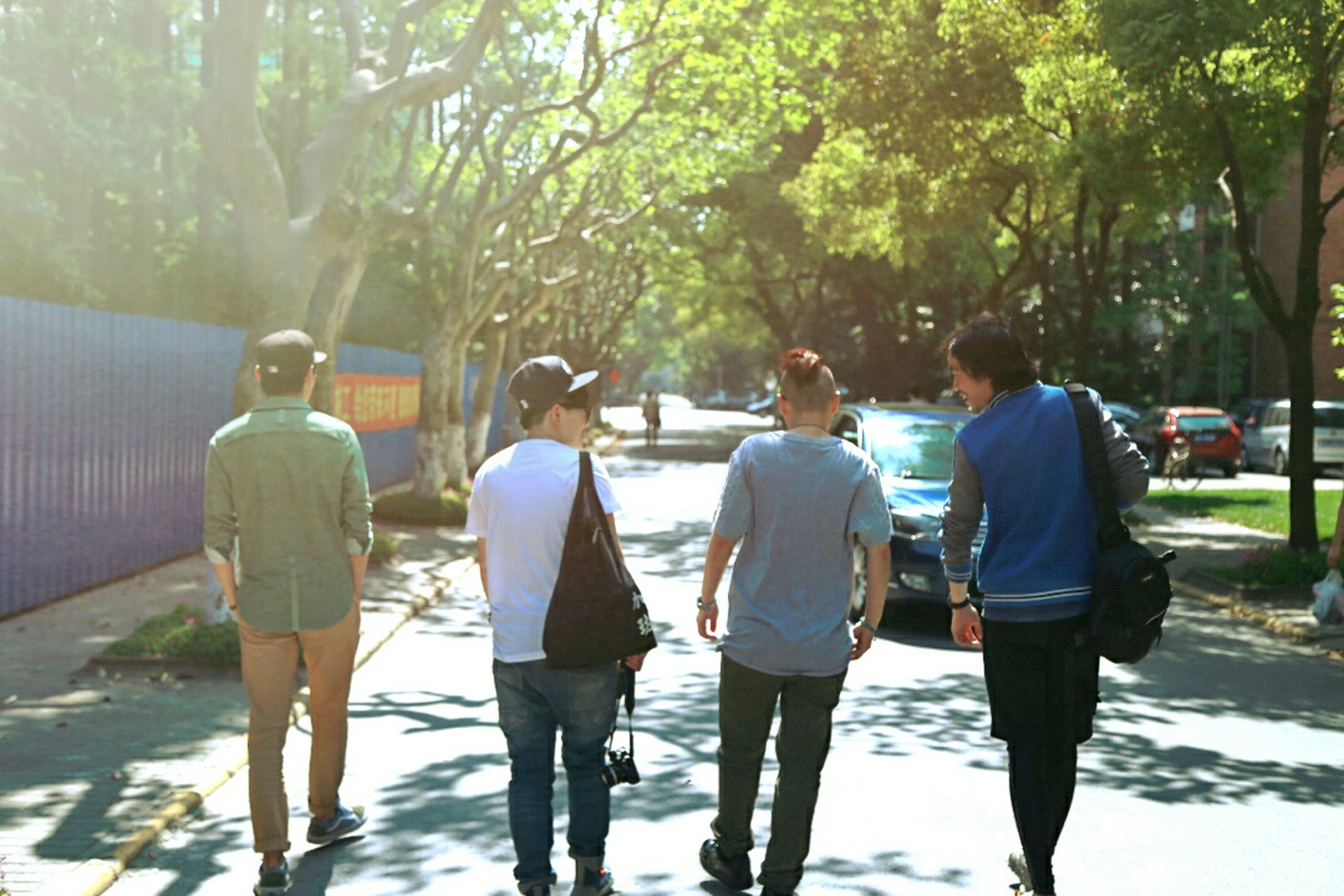 tree, lifestyles, men, rear view, leisure activity, walking, togetherness, person, full length, casual clothing, bonding, standing, friendship, medium group of people, street, day, water