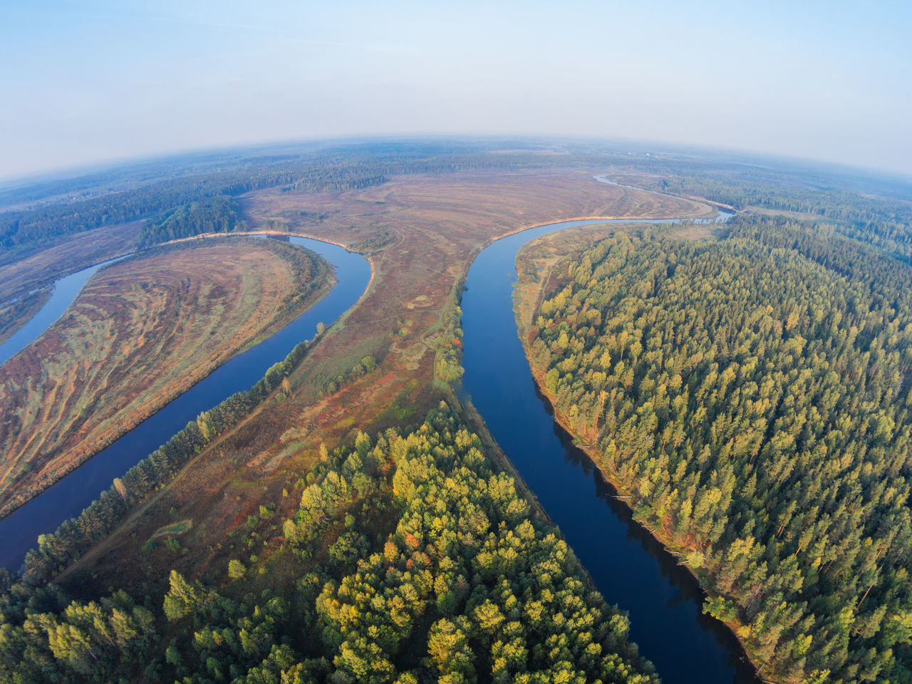 The bends of the river Mologa, morning view from the air. A Bird's Eye View Beauty In Nature Dji Dji Phantom Drone  Growth Landscape Mologa Morning Nature No People Outdoors River Sky Top Perspective Tree Water WoodLand