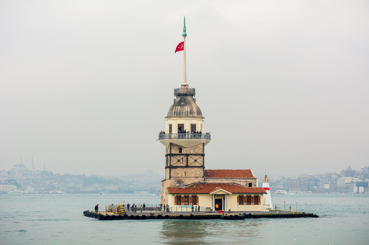 Maiden's Tower Istanbul Architecture ASIA Bosphorus Bosphorus, Istanbul Building Exterior City Clock Tower Day Flag Government Istanbul Maiden Tower Maiden Tower Istanbul No People Outdoors Sea Sky Tower Travel Travel Destinations Turkish Türkei Türkiye Uskudar Water