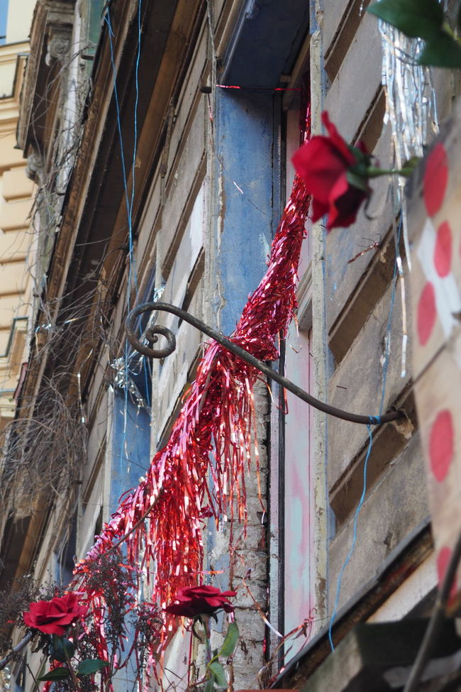Alternative Bad Condition Deterioration Garland Hanging House Metal Old Buildings Red Shinny Silver  Squat Unrenovated Window