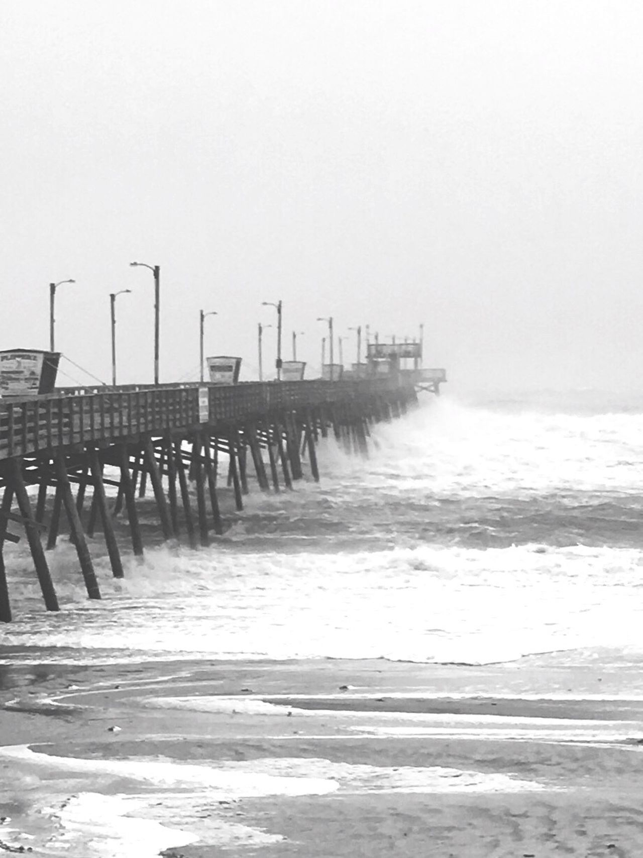 Hurricane Pier Storm Naturesfury Surf Shore Beach Tide North Carolina Emeraldisle Water Sea Ocean Atlantic Ocean Blackandwhite Man Made Object No People