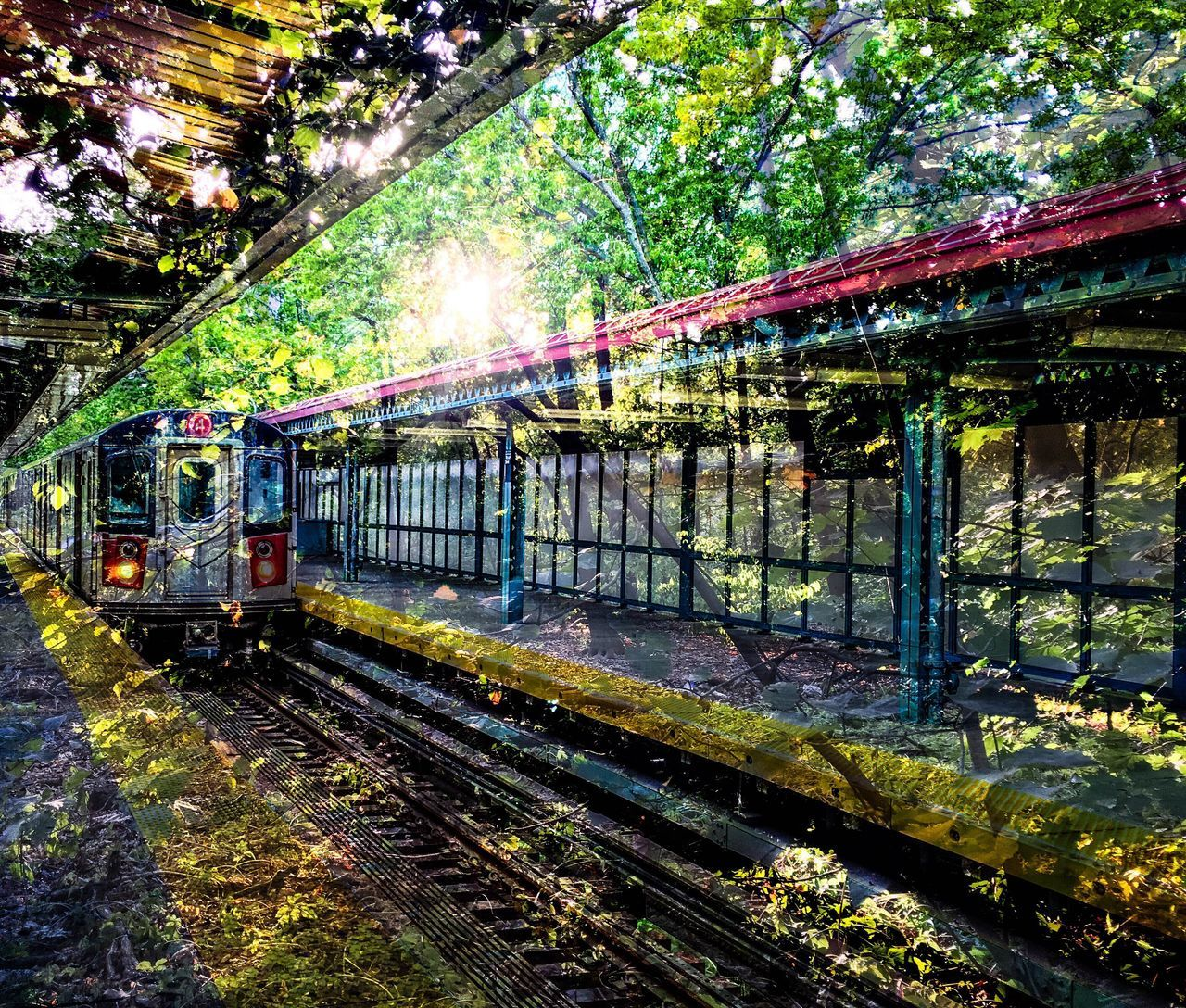 My first experiement with photoshop mixer. Bronx Bronx New York  Brooklyn Edit Experience Experiment EyeEm Best Edits EyeEm Best Shots EyeEm Gallery Green Color Journey Mode Of Transport No People No People Outdoors No People, Outdoors Photoshop Photoshop Edit Prospect Park Railroad Track Sunset Sunset_collection Train - Vehicle Transportation Traveling