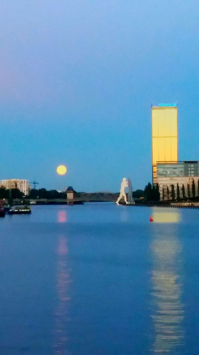 Building Exterior Water Architecture Built Structure Copy Space Blue Sun Clear Sky Reflection River Waterfront Illuminated Travel Destinations Tranquility Tranquil Scene Outdoors Scenics Nature Water Surface Sea Berliner Ansichten Berlin Moonlight Moonshine Moonset