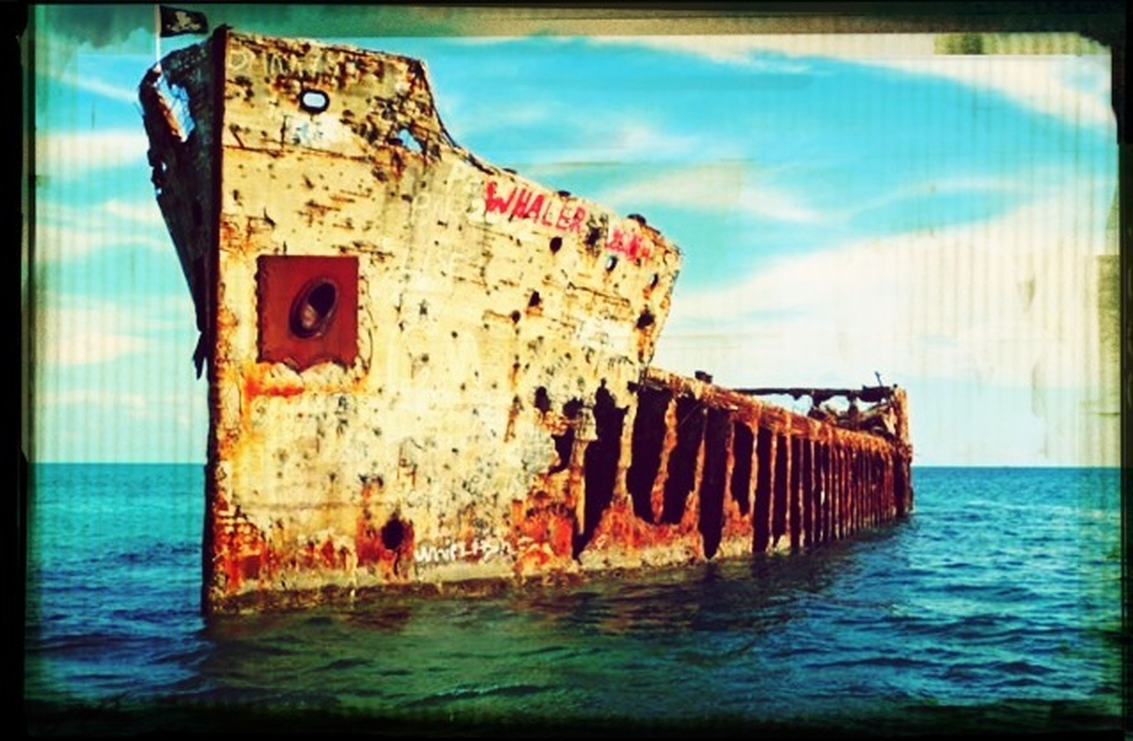 water, sea, sky, wood - material, waterfront, rusty, auto post production filter, old, built structure, blue, abandoned, nature, weathered, day, outdoors, lake, damaged, deterioration, no people, tranquil scene
