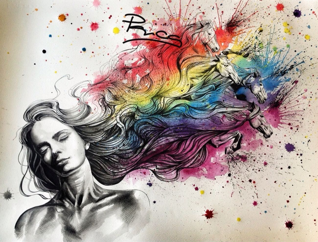 """""""Dreams are made of rainbows and unicorns"""" Art Colorful wWatercolorPainting"""