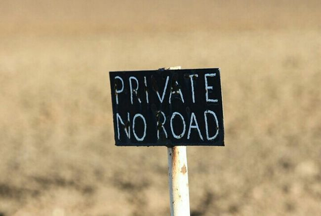 Private no road sign