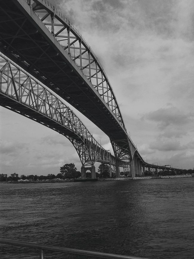 Port Huron Bridge Blue Water Bridge Beautiful Photography Black And White Eyeemphotography EyeEm Best Shots EyeEm Best Shots - Black + White Boardwalk
