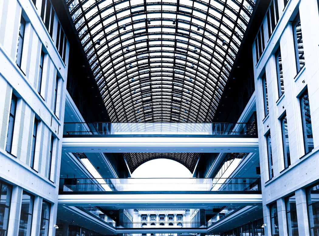 Shopping & design Arch Architectural Feature Architecture Berlin Blue Building Building Exterior Built Structure Capital Cities  City Connection Famous Place Glass - Material Low Angle View Lp12 Mall Modern Office Building Shopping Mall