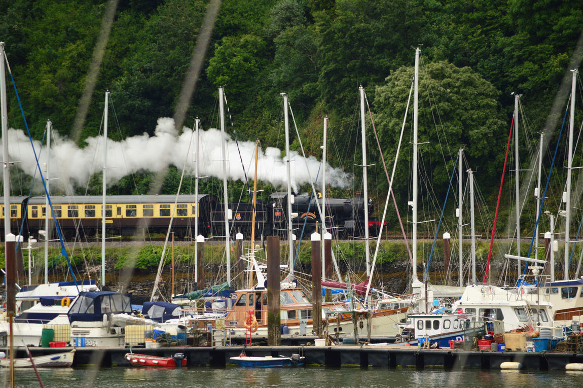 Steam Engine, Lydham Manor 7827, approaching Kingswear Station by River Dart, Devon, England Boat Boats Dartmouth Day Kingswear Lydham Manor Lydham Manor 7827 Multi Colored Nature Nautical Vessel Outdoors River Dart Sailboat Side By Side Sky Tranquility Travel Destinations Tree Water Waterfront