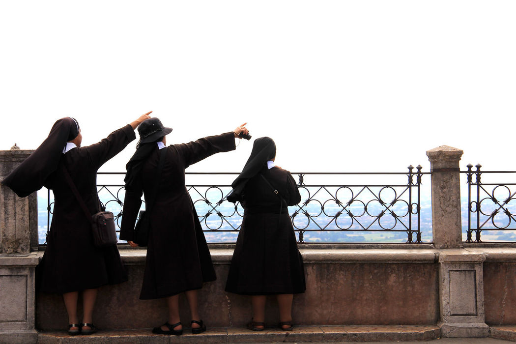 Assisi Assisi Italy  Fun Holding Lifestyles Real People Rear View Religiose Standing Suore Women