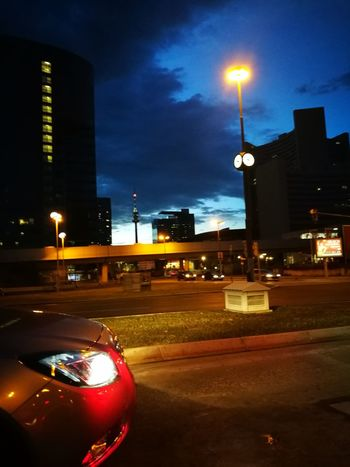 Night Illuminated Street Light Street City Car City Street Building Exterior Architecture Built Structure Land Vehicle Road Outdoors Cityscape No People Nightlife Sky