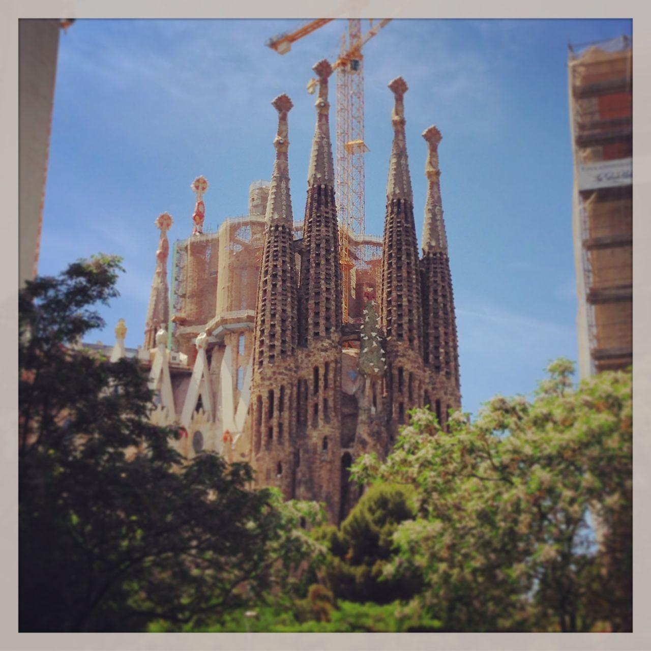Architecture Building Exterior Built Structure City Construction Construction Site Crane Day Gaudi Gaudi #barcelona History Low Angle View No People Outdoors Place Of Worship Religion Sagrada Familia Sagradafamilia Sky Spirituality Travel Destinations Tree