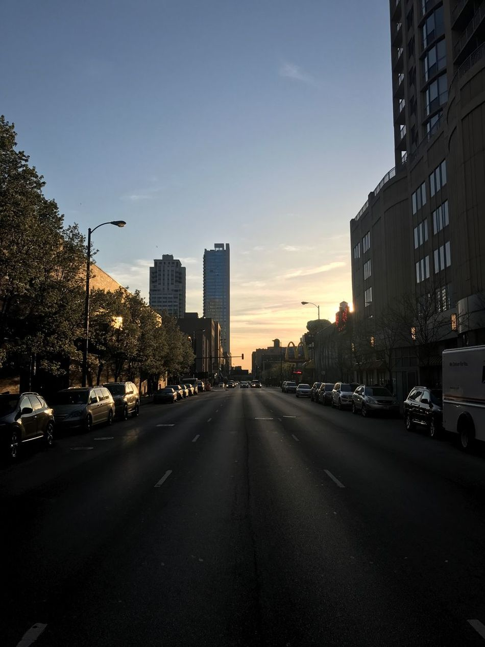 Take a walk on the infinity lane Cityscape Road Car City Street Architecture Sky Sunset